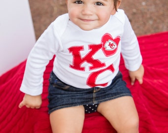 Baby Red KC Pride with heart Snap Bodysuit with Chiefs fabric
