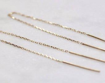 14K Double Needle Threader Earrings