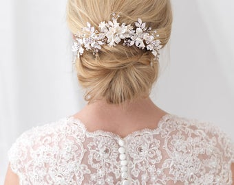 Floral Bridal Back Comb, Rhinestone Bridal Hair Comb, Ivory Flower Hair Comb, Bridal Hair Accessory, Flower Comb, Bridal Hair Comb ~TC-2303