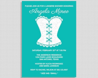 Lingerie Shower Invitation, Turquoise and White Lace Corset Invite, Lingerie Party Invite, DIY PRINTABLE