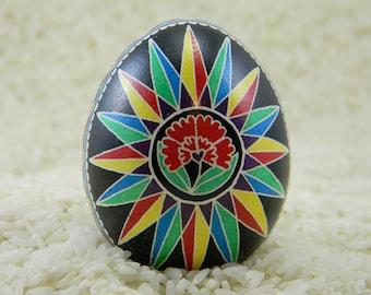 Stylized Poppy Compass Rose Ukrainian Egg