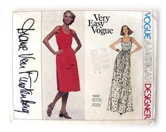1970s Diane Von Furstenberg Dress Pattern / Vogue 1662 / Designer Dress Pattern / Stretchable Knits Only / Size 12