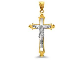 2-Tone 14k gold Crucifix cross pendant