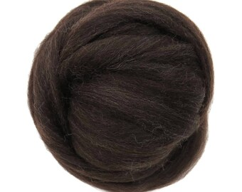 Natural Corriedale  Wool Roving, Dark Brown