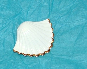 White Enamel with Gold edge Shell Shaped Brooch Signed