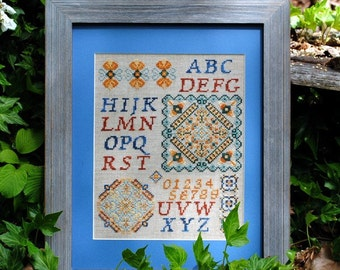 Sampler Cross Stitch Instant Download PDF Pattern Rustic Sampler. Counted Embroidery Chart. Alphabet Monogram Mandala X Stitch Design