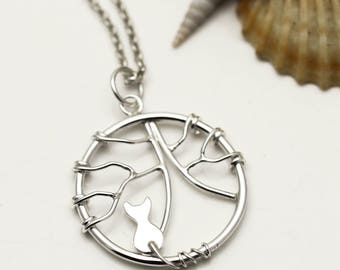 Sterling Silver Cat Necklace - Tree of Life Necklace - Cat Jewellery - Cat Lover Gift
