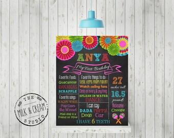 First Birthday Chalkboard -Fiesta, Bright Color Pinwheel Poster Sign Birthday Printable File, 1st Birthday Photo Prop, Listing