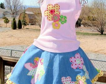 Girls summer skirt appliqued tank top sz 4/5 boutique OOAK pink denim