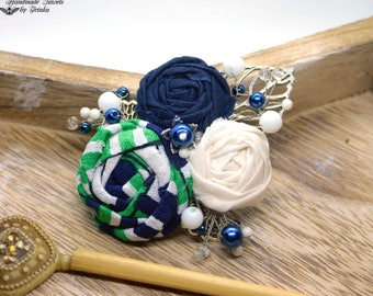 Navy Blue, textile brooch, white and green