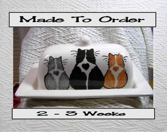Three Cats On Ceramic Butter Dish Handpainted Original by Grace M Smith