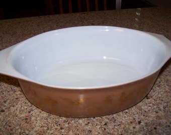 Pyrex Americana Brown and Gold Casserole