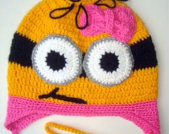 Minion . Girls Minion hat . Crochet cotton hat . Funny kids hats.
