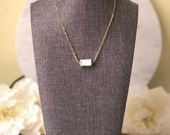 Marble block (white howlite) and 22k gold bar layering necklace