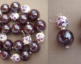 Scottish Heather - necklace and earrings made of porcelain and silver