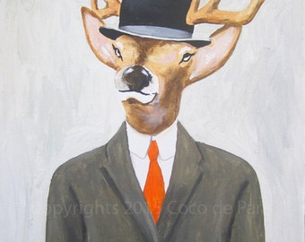 English Deer painting on streched canvas, Bowler hat, Deer on canvas, animal painting, Hight fashion, Acrylic Painting by Coco de Paris