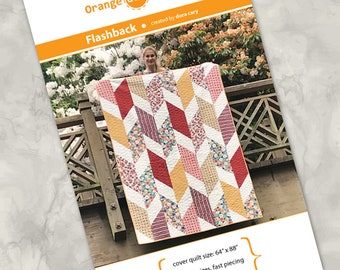 """Printed quilt pattern - """"Flashback"""" - make a beautiful quilt using up to 2/3 yard of eight differnt fabrics - multiple sizes - fast and easy"""