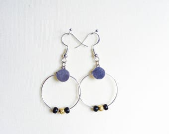 Silver earrings with black and gold pearls