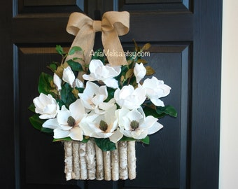 winter wreath magnolia wreath Holiday wreaths for front door wreaths winter wreaths white magnolia decorations