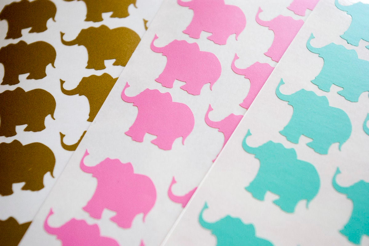 30 gold elephant stickers, elephant wall decal, safari theme ...