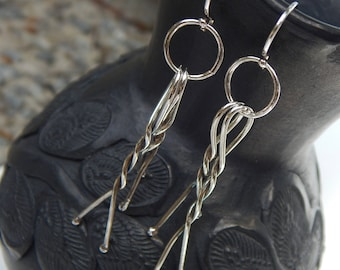 Sterling Silver Twisted Stick Earrings