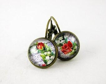 Vintage Lace & Red Rose Leverback Earrings, 1999 USA Postage Stamp Jewelry, Nickel Free Bronze Earrings, Boho Bohemian Floral Earings, Gift