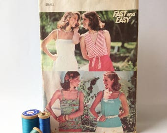 Sewing Pattern, Wrap around v-neck with sash, Women's Strappy Singlet, stretch knit, Butterick Pattern 4883, Vintage Sewing