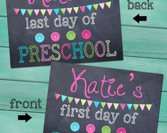 First and Last Day of Preschool Personalized CHALKBOARD - Pink FL0001