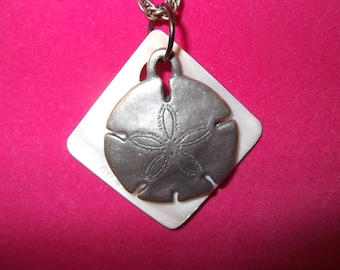 Mother of Pearl and Silver tone Sand Dollar necklace