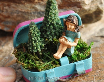 Getting Back to Nature Fairy and Suitcase for Miniature Garden, Fairy Garden