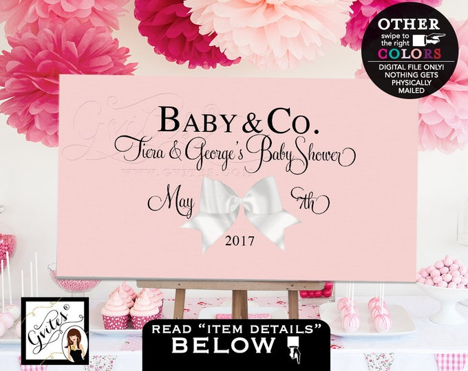 Baby and co Backdrop baby shower, welcome poster signs, customizable, digital file, table backdrops, blush pink, PRINTABLE