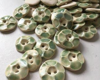 light green ceramic buttons--SMALL