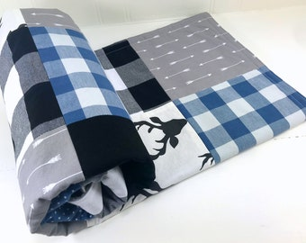 Woodland Baby Blanket Nursery Decor Minky Baby Blanket Baby Quilt Baby Boy Buffalo Plaid Denim Blue Grey Gray Black Deer Buffalo Check