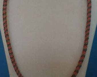 Long handmade necklace crocheted in 3 different colors in a spiral copper wire