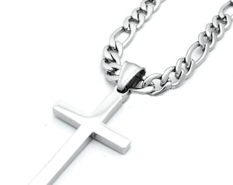 Mens highly polished stainless steel cross pendant and mens highly polished stainless steel cross pendant and figaro chain necklace set aloadofball Images