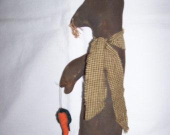 Primitive Grungy Folk Art Black Easter Bunny Tall Skinny with Carrot