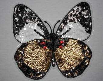 1 patch fusible Butterfly red rhinestone Butterfly