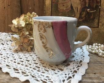 Vintage Mustache Cup/Shaving Mug/Bathroom Decor/Pink/White/Luster