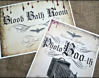2  A4 Card Halloween Party Signs - 'Blood Bath Room' and 'Photo BOO-th'