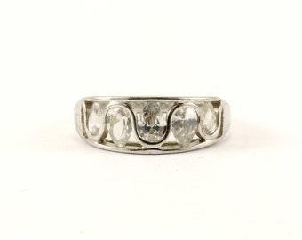 Vintage Waved  Design Multi CZ Ring 925 Sterling Silver RG 2150-E