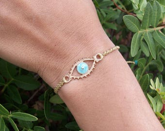 Evil eye bracelet - macrame bracelet, charm bracelet, adjustable, gold, blue evil eye, protection from the evil eye!