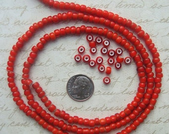 "1930's Vintage Italian Whiteheart Glass Beads in Classic Red - 30"" strand of Collectible Venetian Trade Beads"