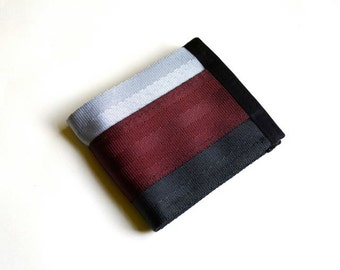 Vegan Billfold Wallet - Oxblood, Silver, and Black (SBW-V3)