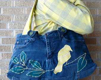 Upcycled Purse or Tote Denim Jeans with Yellow Bird on a Branch