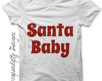 Christmas Iron on Shirt - Santa Iron on Transfer / Christmas Shirt / Kids Boys Clothing Tops / Infant Girls Clothes / Iron Letters IT105