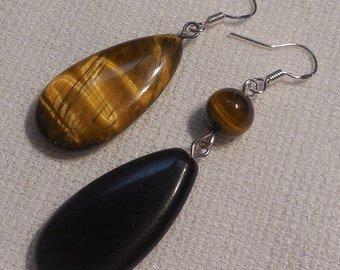 asymmetrical earrings, sterling silver, Tiger's eye and Black Jasper