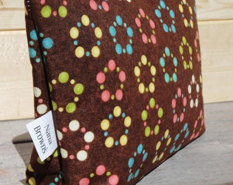 Zipper Pouch Cosmetic Bag - Brown Dot