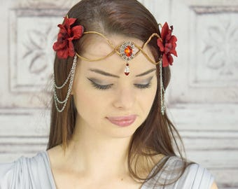Elven Crown, Silver and Red, Elven Headdress, Fairy Crown, Costume Headpiece, Headdress, Flower Crown, Floral Crown, Woodland