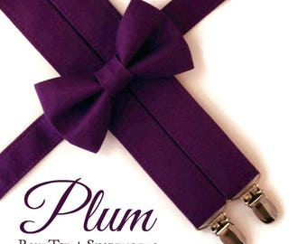 Plum Bow Tie and Suspenders:  Plum Suspenders for Men, Toddler Suspenders, Boys Plum Bow Tie, Purple, Ring Bearer Gift, Bow tie for Adults