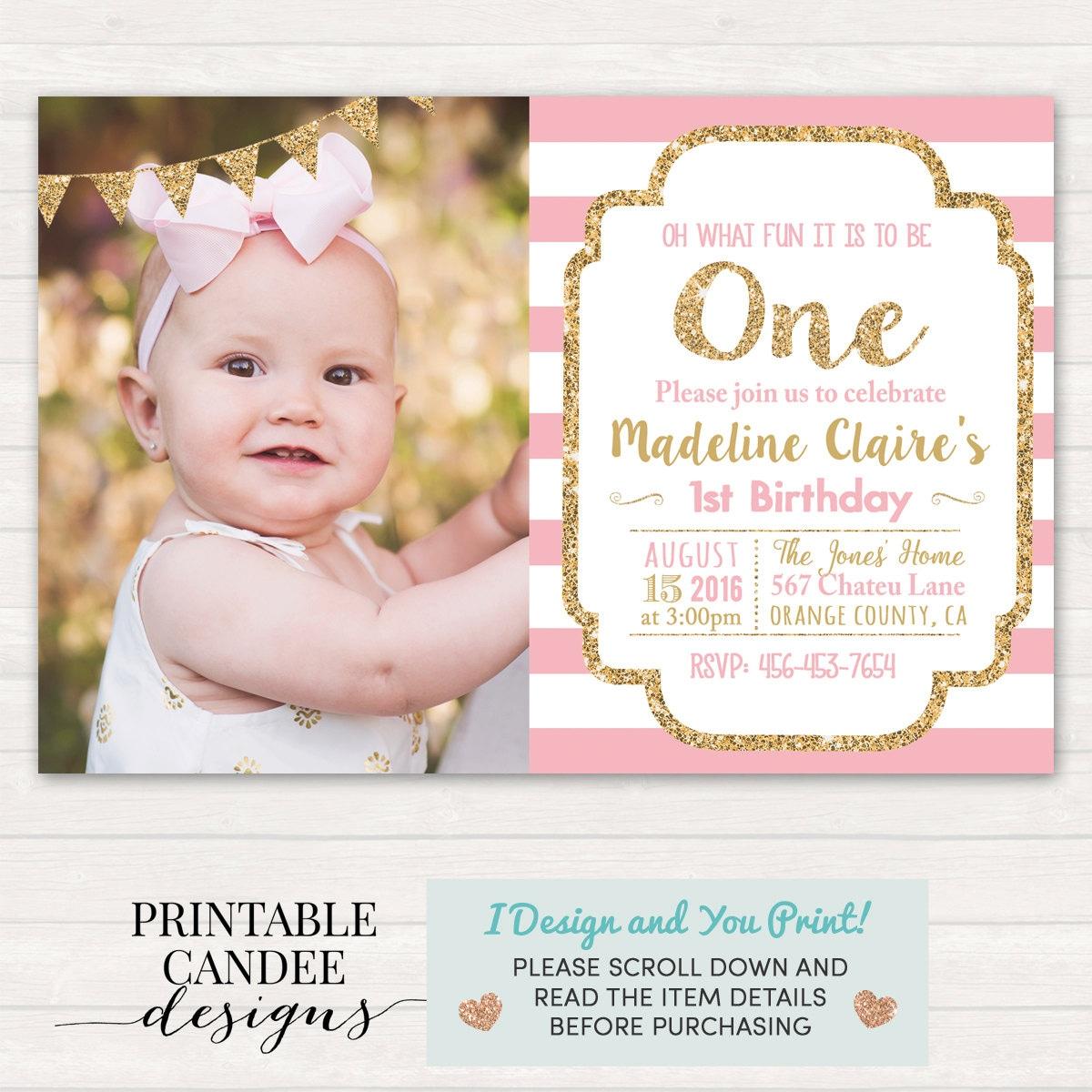 Pink and Gold Birthday Invitation 1st Birthday Invitation